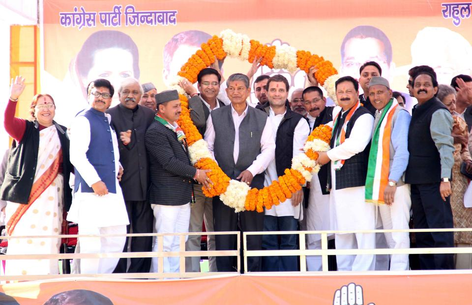 Congress vice-president Rahul Gandhi addresses a rally in Almora in Uttarakhand, which goes to polls on February 15.