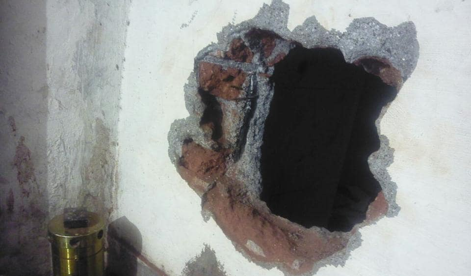 The hole that the thieves dug to steal the jewellery on the intervening night of Sunday and Monday.