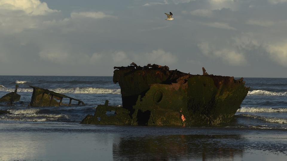 A shipwreck MV Plassy on Baltray beach in Louth, Ireland.