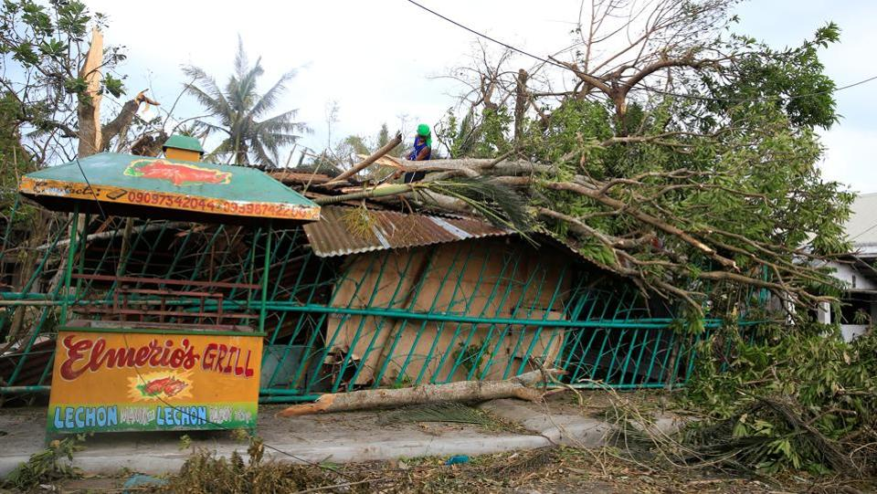A man fixes a rooftop damaged by fallen trees after strong winds brought by Typhoon Nock-ten. (Romeo Ranoco/REUTERS)