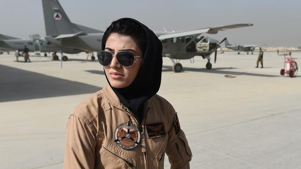 Afghanistan's first female pilot Niloofar Rahmani at an airfield in Kabul in April 2015.