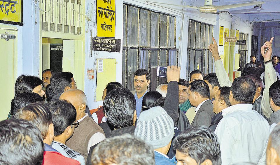 Agitated residents protested at the district magistrate's office.