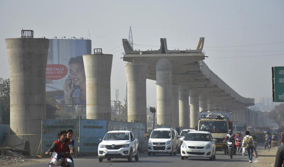 The 9.41km elevated metro corridor is under construction from Dilshad Garden in Delhi to New Bus Stand in Ghaziabad.