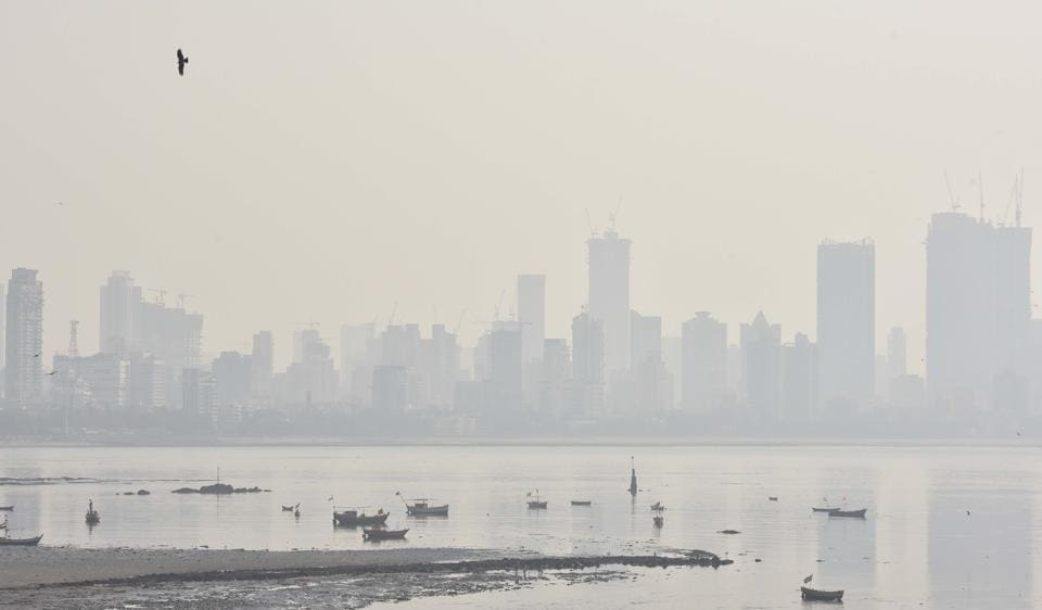 Smoggy weather in Mumbai on Monday.
