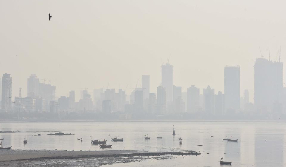 Smoggy weather in Mumbai on Monday.