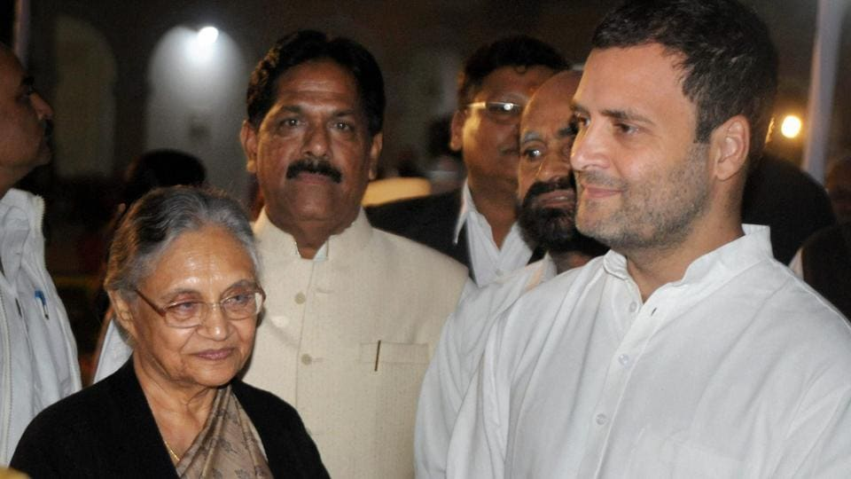 Congress vice-president Rahul Gandhi along with Sheila Dikshit in Allahabad.