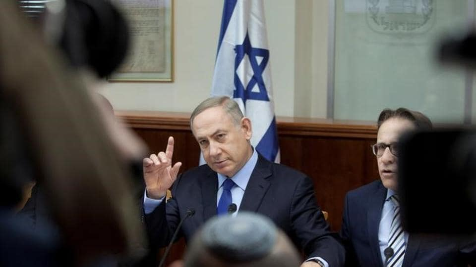 Israeli Prime Minister Benjamin Netanyahu attends the weekly cabinet meeting at his Jerusalem.
