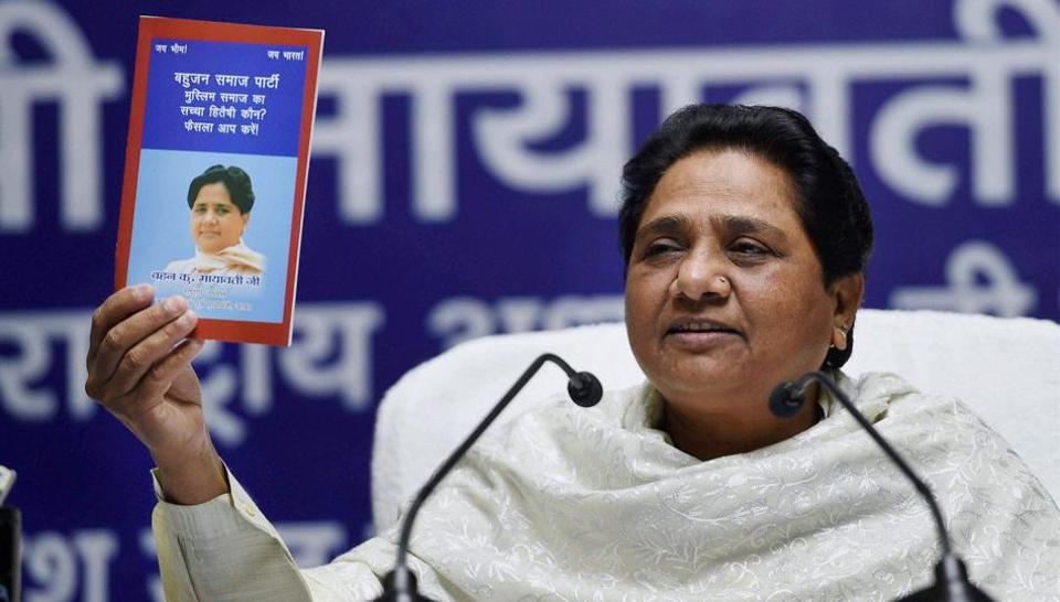 BSP supremo Mayawati at a press conference at the party office in Lucknow on Monday.