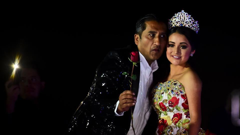 Rubi Ibarra poses during her 15th birthday celebrations in Villa Guadalupe, San Luis Potosi State.