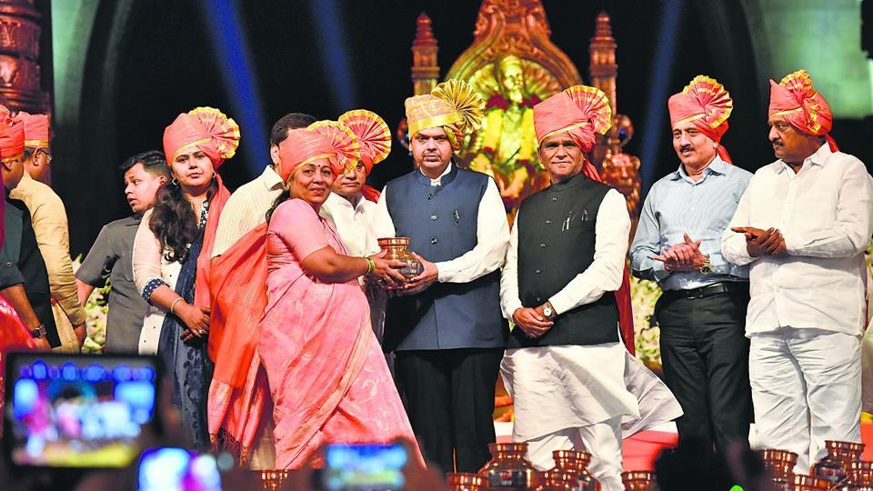 Maharashtra Chief minister Devendra Fadnavis  at the Gateway of India for an event that started work to construct a statue of Shivaji oon the Arabian Sea.