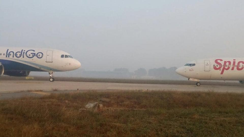 The two planes came face to face at the Delhi airport taxiway on foggy Tuesday morning.