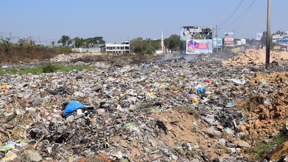 The site next to the Bengaluru-Mysuru Highway in the Bidadi town limits where garbage from Bengaluru is illegally dumped.