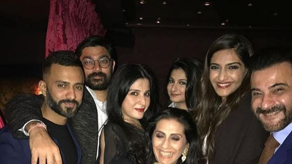 Sonam Kapoor, Anand Ahuja and Sanjay Kapoor, along with others at Anil Kapoor's birthday bash.