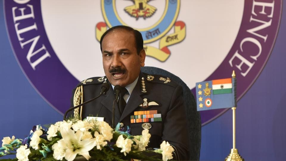 New Delhi, India - Dec. 28, 2016: Air Chief Marshal Arup Raha addressing a press conferees at Akash Officer's Mess in New Delhi, India, on Wednesday, December 28, 2016. (Photo by Sushil Kumar/ Hindustan Times)
