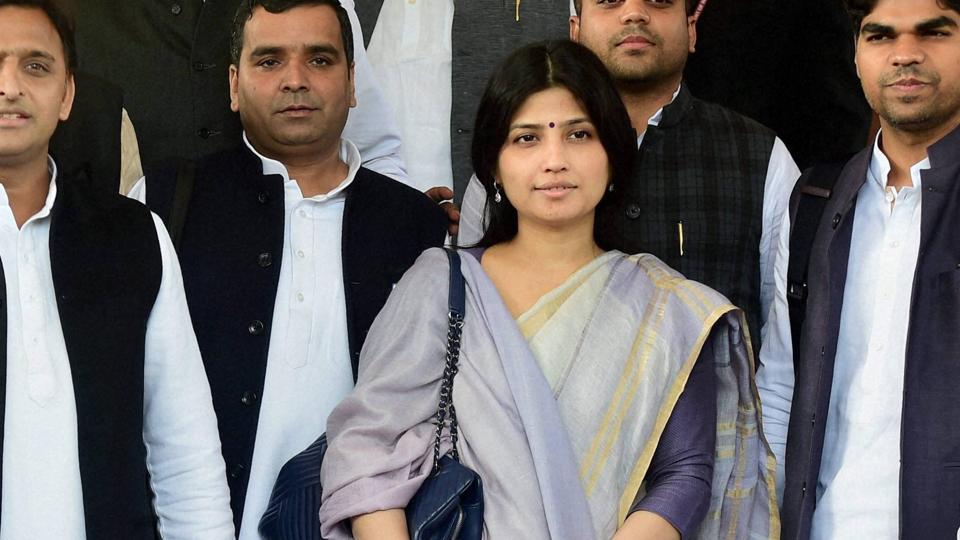 Kannuaj MP and Uttar Pradesh chief minister Akhilesh Yadav's wife Dimple Yadav and other Samajwadi Party members at Parliament House in New Delhi.