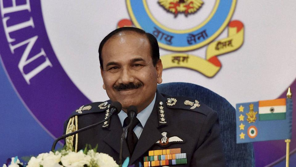 Air chief marshal Arup Raha addresses a press conference at Akash Officer's mess in New Delhi on Wednesday.