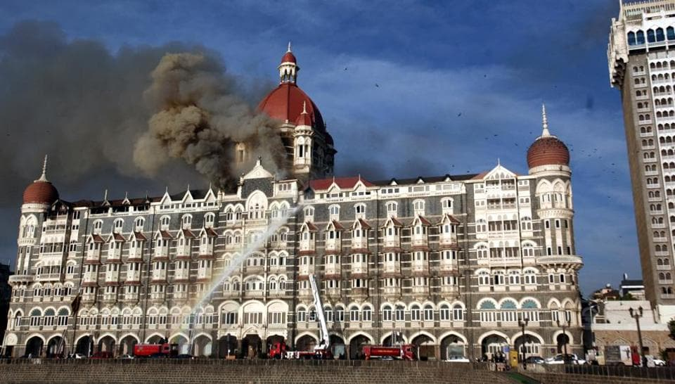Fire engines douse a fire at the Taj Hotel in Mumbai in November 2008 following a terrorist siege. The US has imposed sanctions against a student group wing of the LeT that is accused of organising several attacks, including the one in Mumbai.
