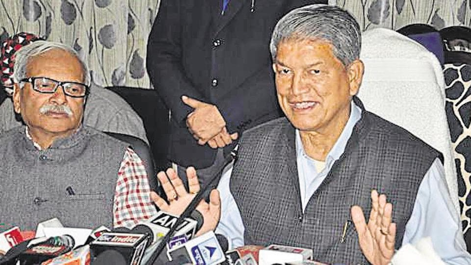 Chief minister Harish Rawat addresses a press conference in Dehradun on Wednesday.