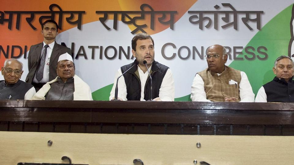 Congress vice president Rahul Gandhi during the party Foundation Day and unveiling of Special Charter Demands at AICC HQ in New Delhi.