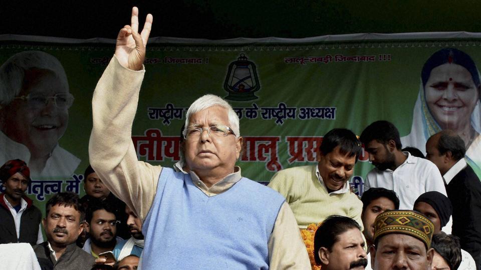 Rashtriya Janata Dal president Lalu Prasad at a 'Maha-Dharna' at Gardanibagh in