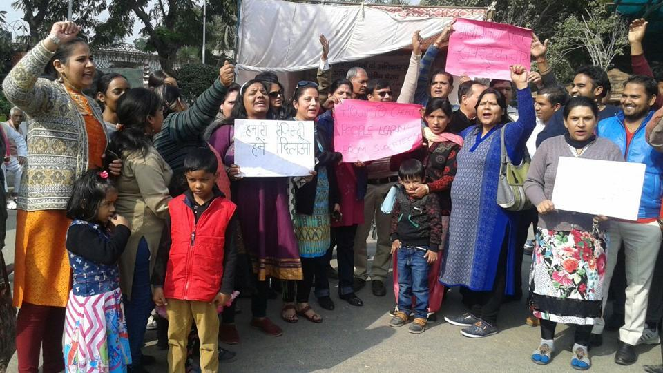 Around 100 residents of Czar Society staged a protest on Wednesday outside the Greater Noida authority's office.