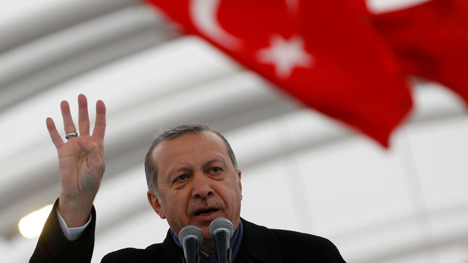 Turkish President Tayyip Erdogan makes a speech during the opening ceremony of Eurasia Tunnel in Istanbul, Turkey.