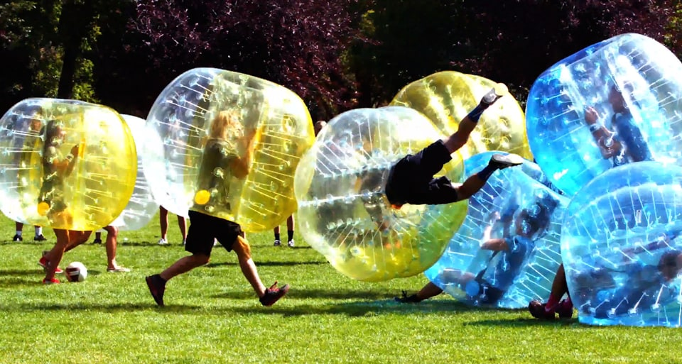 Bubble soccer is like football, except each player's torso is encased in an inflated zorb.