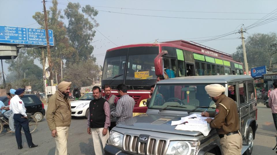 Police saidaround 10 buses were issued challans on Thursday for violating traffic rules.