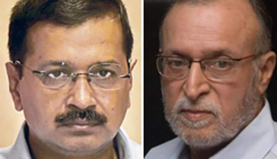 A combination photo of Delhi CM Arvind Kejriwal and the new L-G Anil Baijal.