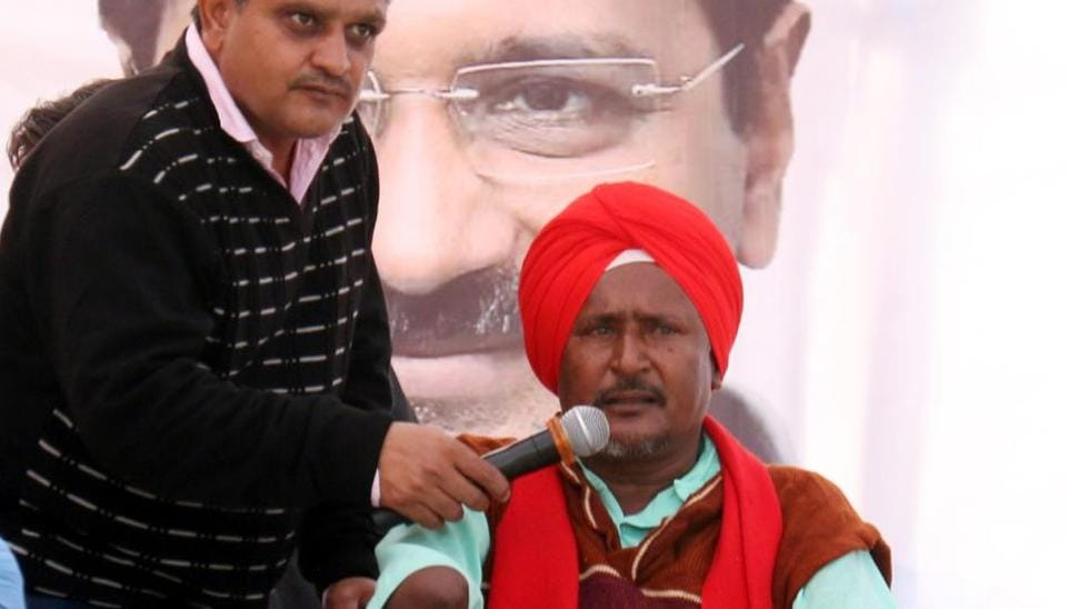 Bant Singh at AAP rally in Muktsar on Wednesday.
