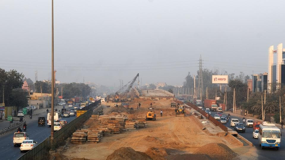 The construction of a flyover is progressing at Hero Honda Chowk.