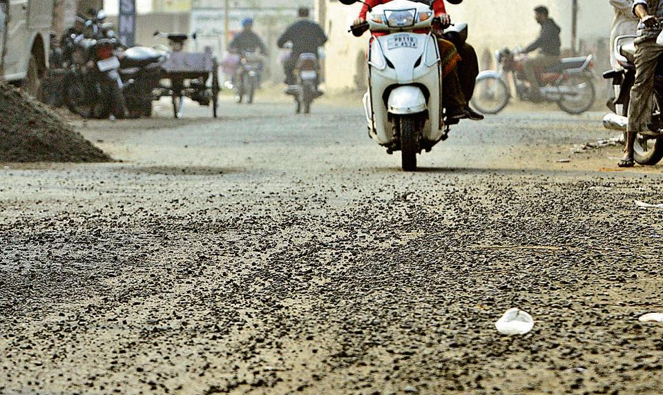 The bad condition of a newly constructed road in Tripuri area of Patiala.