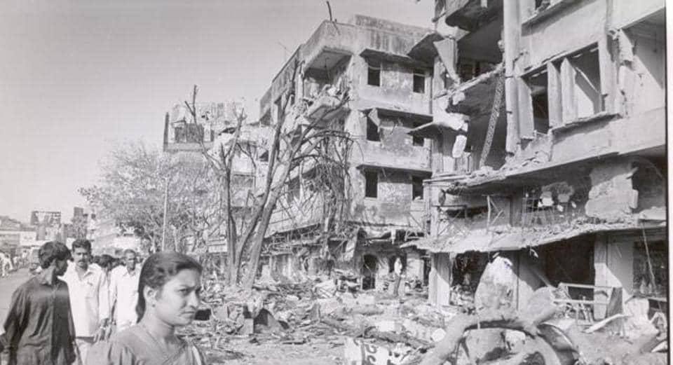 This file photo from 1993 shows a completely devastated building in Worli after one the explosions of the serial bomb blasts.