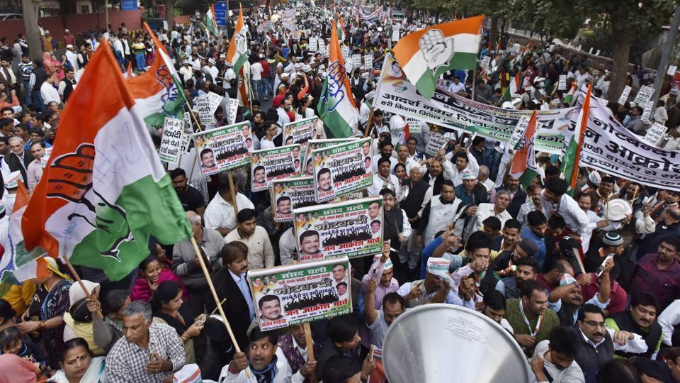 Delhi Congress workers protest during the 'Jan Aakrosh' rally against demonetization, in New Delhi, India, on   November 28, 2016.