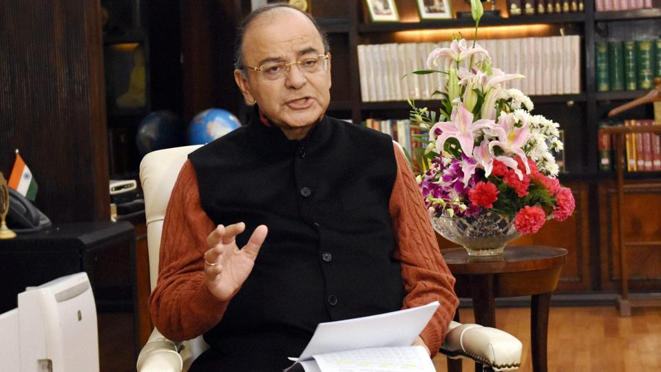Union finance minister Arun Jaitley at his office in New Delhi on Thursday.