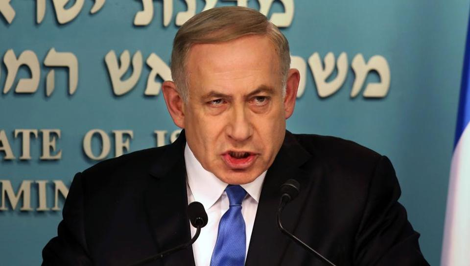 Israeli Prime Minister Benjamin Netanyahu delivers a statement to the press at his Jerusalem office on December 28  in response to a speech by US secretary of state John Kerry.