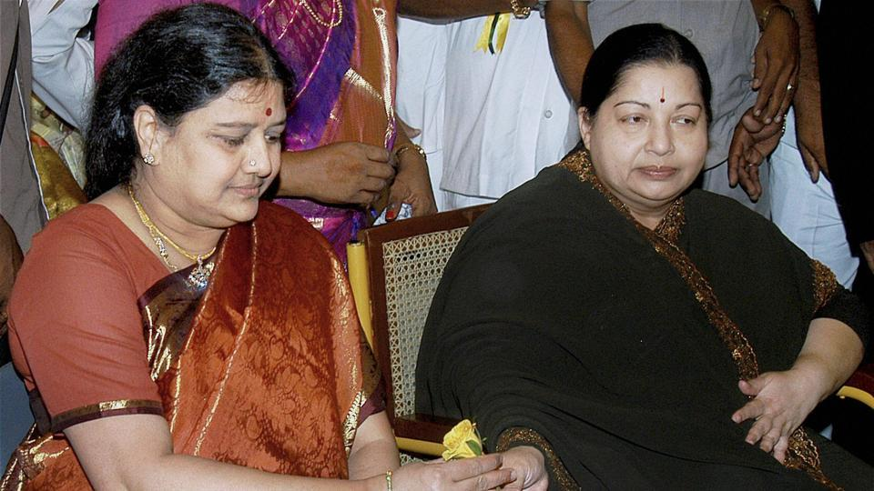 A file photo of the late AIADMK chief J Jayalalithaa with her close friend and aide Sasikala Natarajan . Neither Jayalalithaa's successor Panneerselvam nor Sasikala have anything to do with the film industry,
