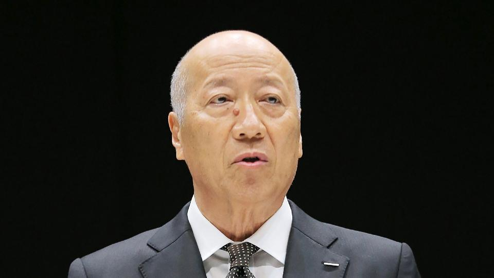 This photo taken on December 28, 2016 shows Tadashi Ishii, president of Japan's biggest advertising agency Dentsu, speaking during a press conference in Tokyo. Ishii said late on December 28 he plans to step down, a year after the suicide of a young employee that has been linked to allegations of extreme overwork at the company.