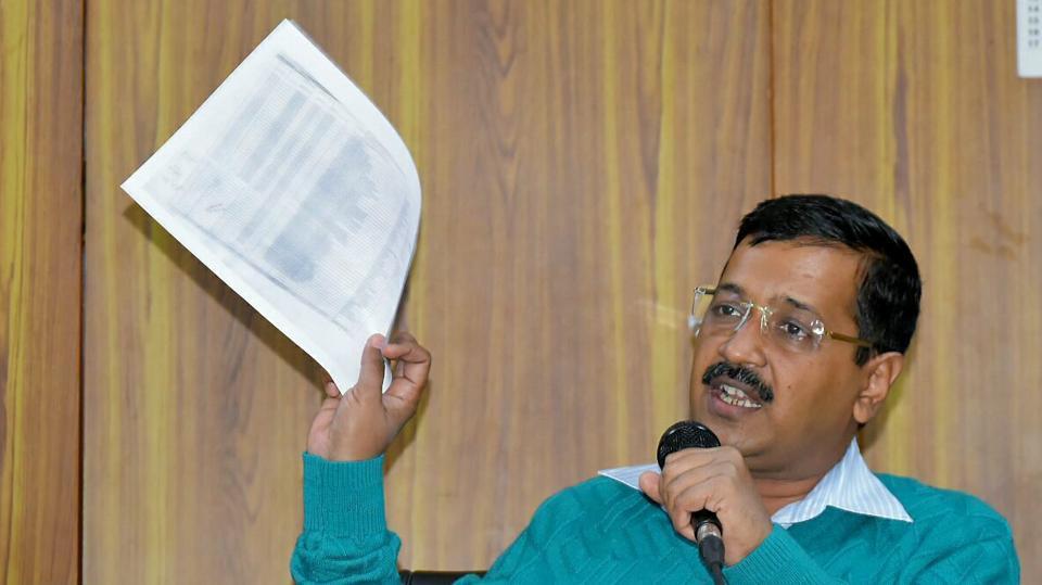 Delhi CM Arvind Kejriwal addressing a press conference at his residence in New Delhi.