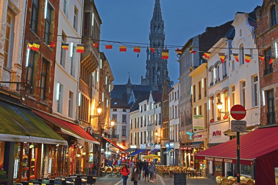 A typical street in the old quarters of Brussels