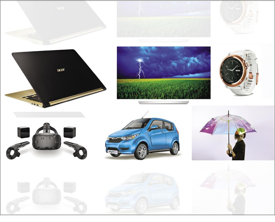 (Clockwise from top left): Acer Swift 7 laptop, LG 4K OLED screen, GarminFenix 3 smartwatch, Oombrala, Mahindra e20 plus and HTC Vive