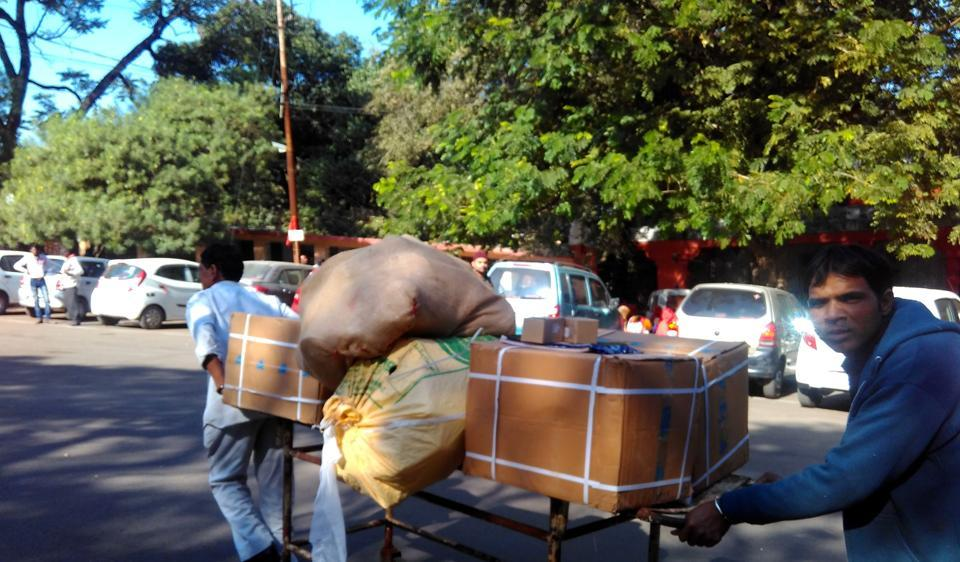 Hamidia hospital staff dispose of expired drugs in Bhopal on Thursday. About 20 quintals of expired medicines were reportedly found from the storeroom of the hospital on Wednesday, raising questions about management of the state-run healthcare centre.