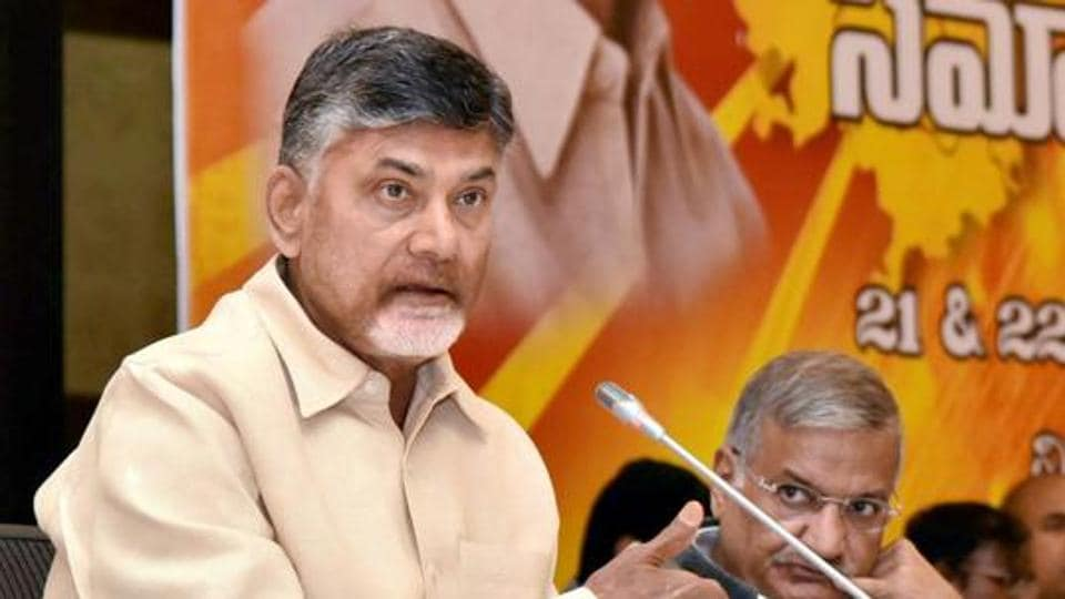 Andra Pradesh CM N Chandrababu Naidu speaking at a programme in Vijayawada.