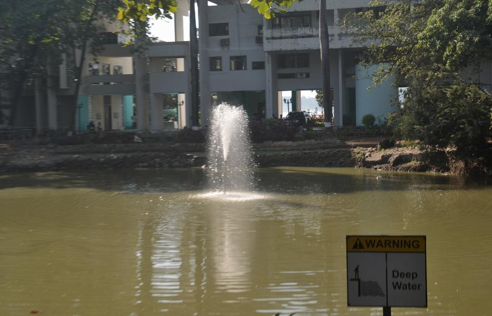 The pond at the IIT-B campus, where the boy drowned on Friday.