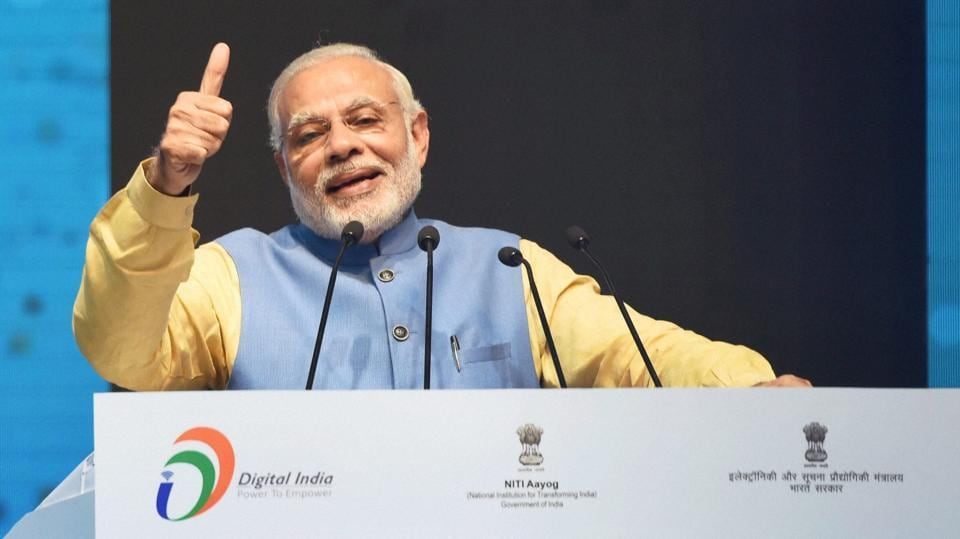 Prime Minister Narendra Modi at the launch of a new mobile app 'BHIM' to encourage e-transactions at Talkatora Stadium in New Delhi on Friday.