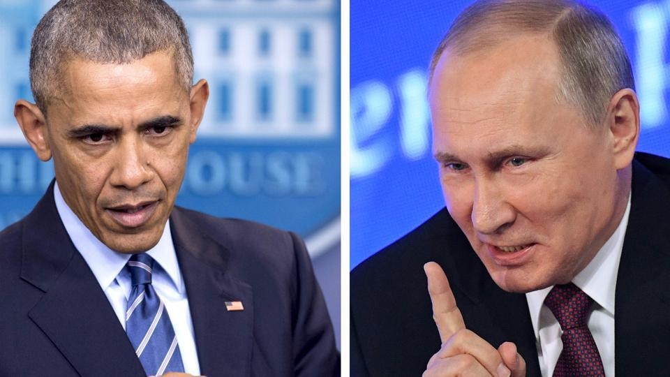 This combination of file photos shows US President Barack Obama speaking at the White House in Washington, DC on December 16, 2016 and Vladimir Putin speaking in Moscow on December 23, 2016. The US on December 29, 2016, fired back at Moscow over its meddling in the presidential election, announcing a series of tough sanctions against intelligence agencies, expulsions of agents and shutting down of Russian compounds on US soil.