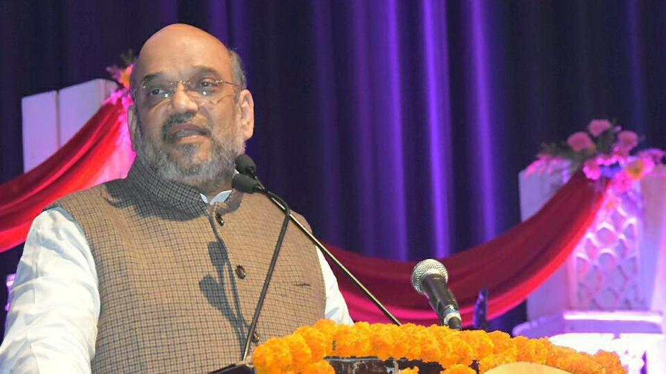BJP president Amit Shah addresses a gathering at a function on the 92nd birthday of former Prime Minister Atal Bihari Vajpayee in New Delhi on December 25.