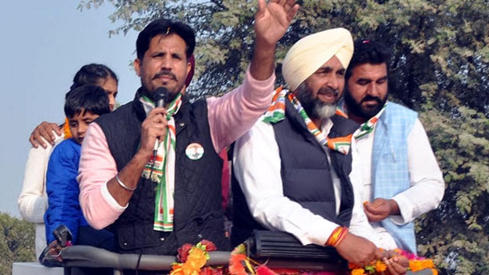 Congress MLA Amrinder Singh Raja Warring, along with Manpreet Badal, during his road show in Gidderbaha on Thursday.