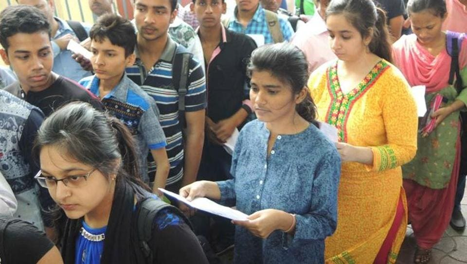 Students going inside exam center to take JEE (Main) exam on April 3, 2016.