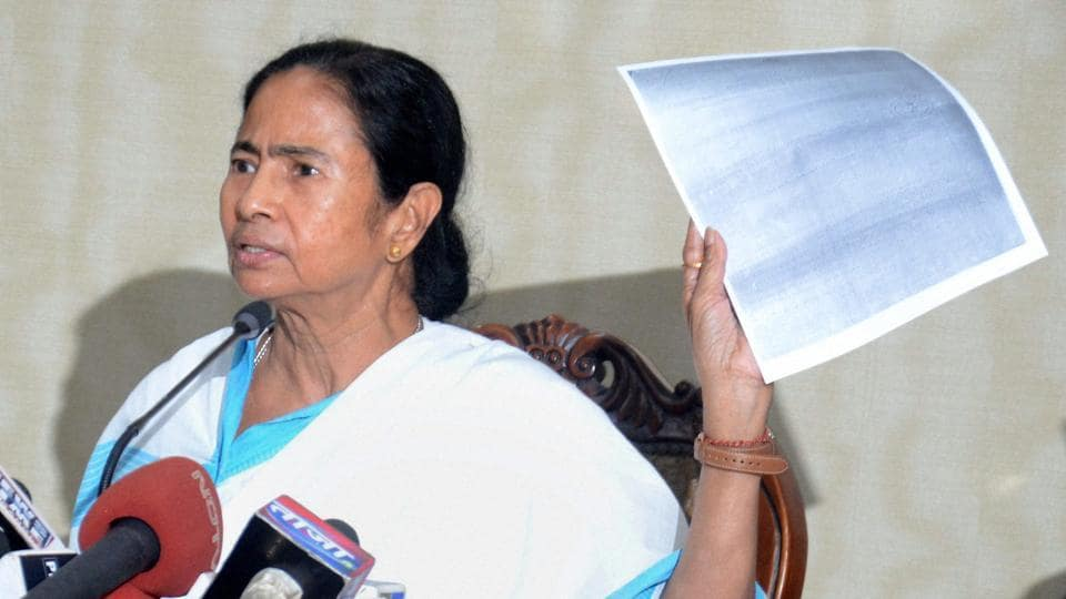 West Bengal chief minister Mamata Banerjee addressing the media.